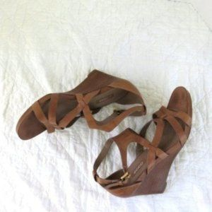 Ecco Strappy Wedge Sandals Sz 40
